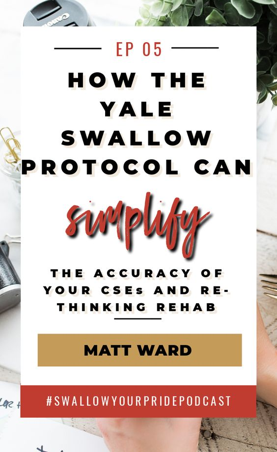 The Yale swallow protocol can simplify the accuracy of your CSEs and rethinking rehab. SLP swallowing disorders and dysphagia. #swallowyourpride #dysphagia #slpeeps #medslp